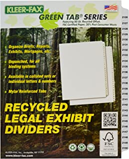 Kleer-fax Letter-size Intercalaires, Liasse numérotées Définit, Side Tab, 1/25th Cut, 1Lot par lot, Blanc, 2126–2150(87646)