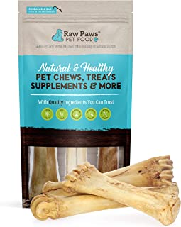 Raw Paws 8-11-inch Cow Shin Bones for Large Dogs, 3-ct - Made in USA - Free-Range, Grass-Fed, Naturally Smo...