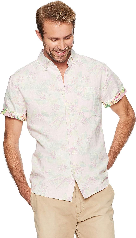 Isle Bay Linens Men's Standard Fit Short Sleeve Toile Vintage Printed Linen Cotton Casual Hawaiian Shirt XXL Pink