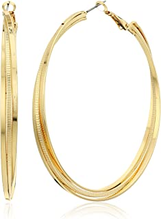 GUESS Womens Triple Rolling Clutchless Hoop Earrings