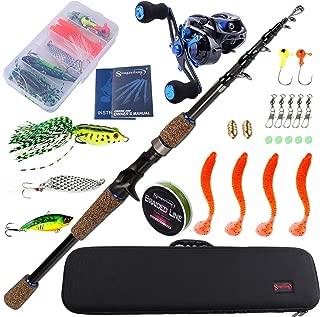 Sougayilang Baitcasting Fishing Rod with Reel Combos, Medium Power Portable Carbon Travel Fishing Pole,4Piece