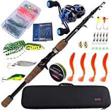 Sougayilang Baitcasting Fishing Rod with Reel Combos, Medium Power Portable Carbon Travel..