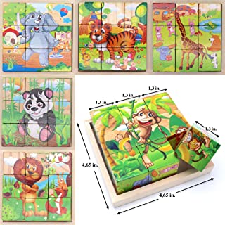 Wooden Cube 3D Puzzle - Jungle Animals| Wooden Cubes - 3D Puzzle (6 in 1) with Tray | Developing of Fine Motor Skills, Memory Toys for Kids | Learning Shape, Color and Sorting (Jungle Animals)