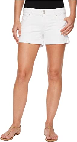 Croxley Mid Thigh Rolled Shorts in White