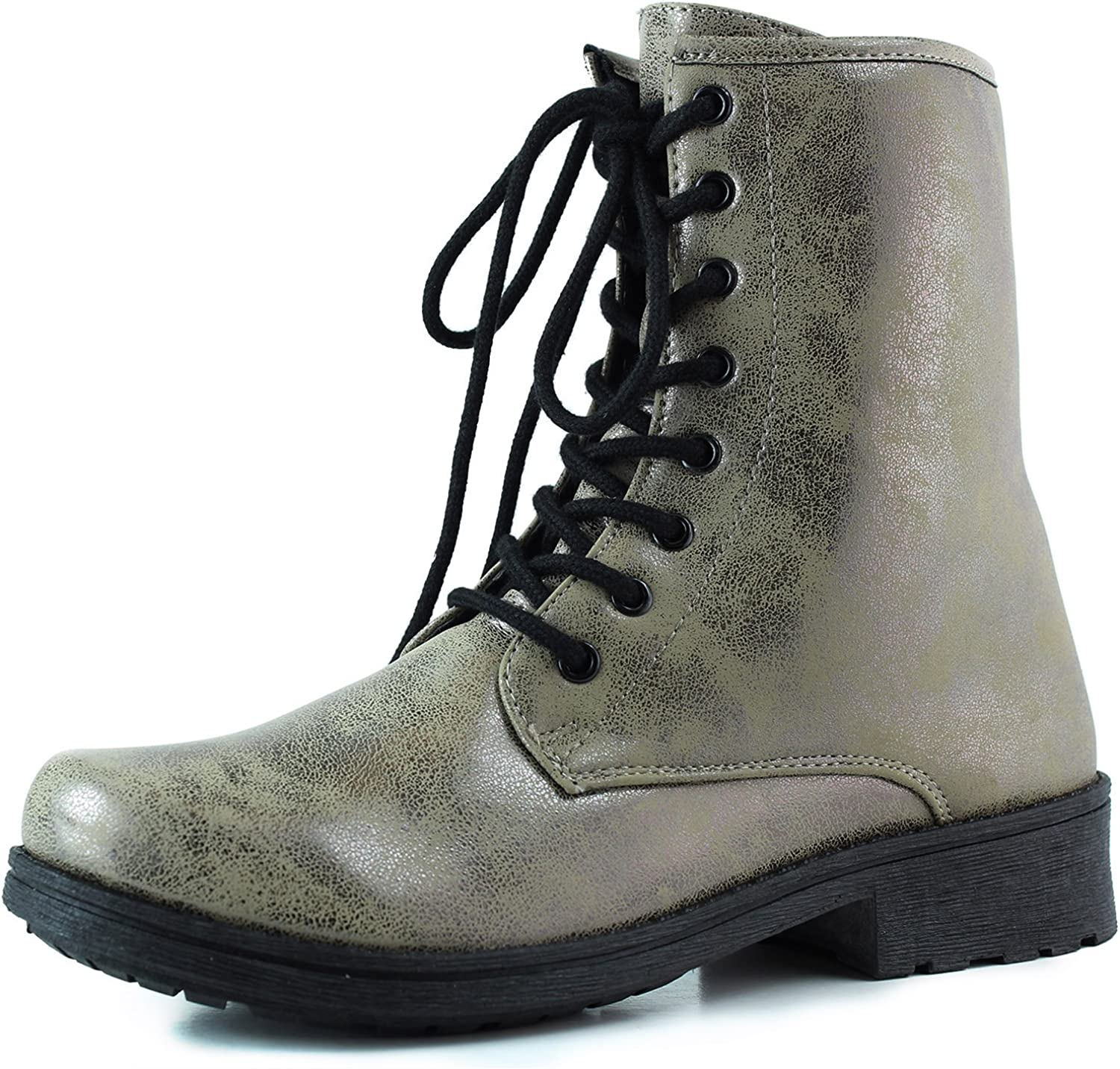 Qupid Women's Ankle Bootie Military Combat Lace Up Boot Taupe Bronze Distress, Taupe, 6.5