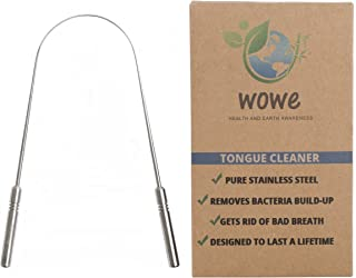 Tongue Scraper Cleaner - Medical Grade Stainless Steel Metal - Get Rid of Bacteria and Bad Breath - by Wowe LifeStyle Products