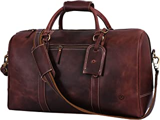 Leather Travel Duffle Bag | Gym Sports Bag Airplane Luggage Carry-On Bag By Aaron Leather (Brown)