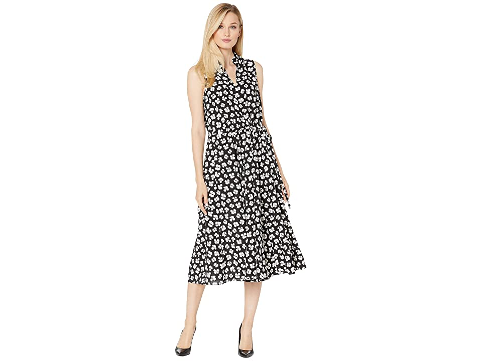 Anne Klein Petal Printed CDC Drawstring Midi Dress (Anne Black/Anne White Combo) Women
