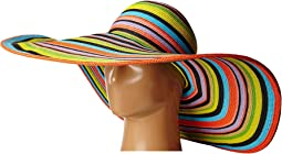 UBX2721 Striped Floppy 8 Inch Brim Sun Hat