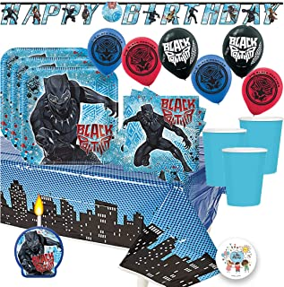Another Dream's Black Panther MEGA Birthday Party Pack for 16 Guests Includes Plates, Cups, Napkins, Tablecover, Happy Birthday Banner, 6 Balloons, Party Pin and Birthday Candle
