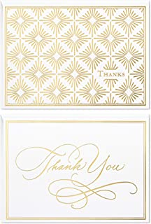 Hallmark Thank You Cards Assortment, Gold Foil Scroll (50 Thank You Notes with Envelopes for Wedding, Bridal Shower, Baby Shower, Business, Graduation)