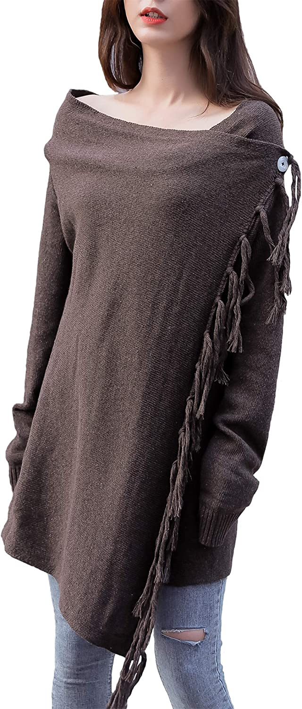 YCAngela Women's Long Sleeve Open Front Cardigan Tassel Hem Pullover Knit Sweater Stylish Fringe Casual Coat