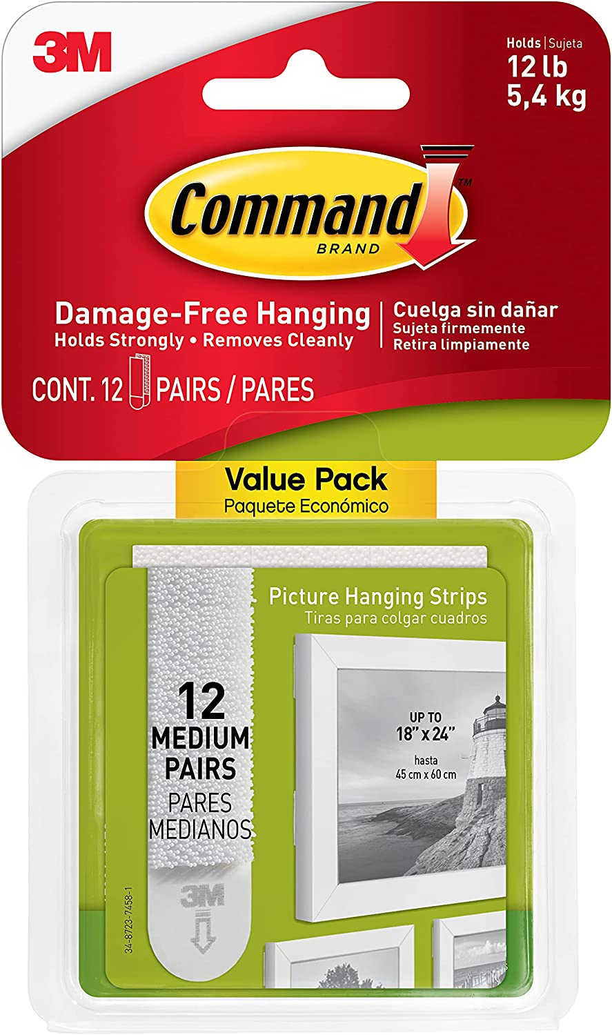 Command 17204-12ES 07248000796 CMND Now free shipping PIC 12 Strip Hang VP Pairs Excellent