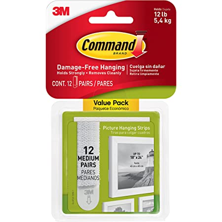 Command Medium Picture Hanging Strips, Pack of 12 x 2 Adhesive Strips, White - Damage Free Hanging - For Pictures, Frames, Mirrors, Wall décor and Signs - Holds up to 5.4 kg