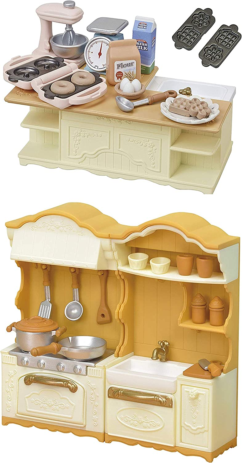 2 Kitchen Sets Sold Together  Island Kitchen and Kitchen Stove and Sink (Japan Import)