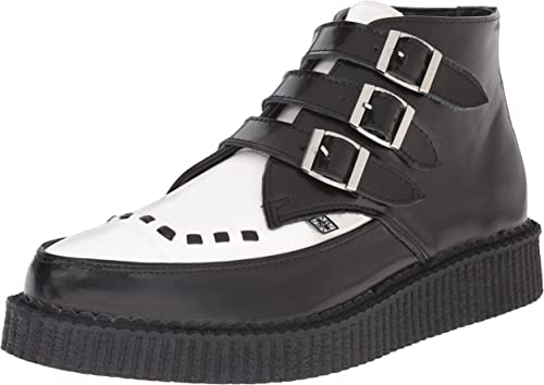 T.U.K. chaussures noir & blanc Leather Buckle Up Pointed Creeper bottes EU46   UKM12