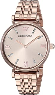 Emporio Armani Women's Analog Quartz Watch With Stainless-Steel Strap Ar11059, Pink Band