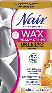 Nair Wax Ready Strips for Legs & Body with Milk and Honey, 40 Strips + 4 Finishing Wipes