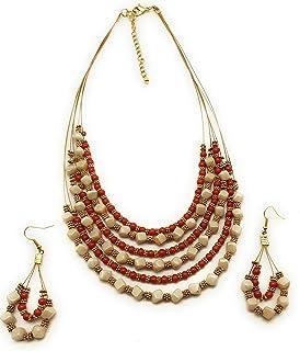 DCA Dark Orange/Cream Glass Women Necklace (3010)