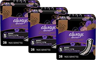 Always Discreet Boutique Incontinence & Postpartum Incontinence Pads for Women, Heavy Absorbency, Long Length, 84 Count