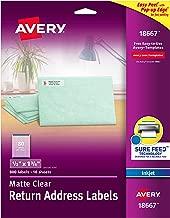 Avery Matte Clear Return Address Labels, Sure Feed Technology, Inkjet, 1/2