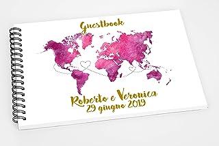 Guestbook matrimonio - libro dediche e auguri invitati personalizzato mappamondo cartina tema viaggio disponibile in tutti...