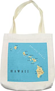 Lunarable Hawaiian Tote Bag, Map of Hawaii Islands with Capital Honolulu Borders and Important Cities, Cloth Linen Reusable Bag for Shopping Groceries Books Beach Travel & More, Cream