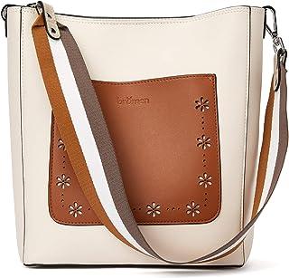 Handtasche Damen Schultertasche Umhängetasche Leder Groß Shopper Damen Designer Tasche Beuteltasche mit 2 Trageriemen Beige