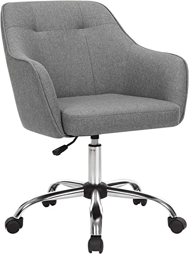 SONGMICS Bürostuhl, bequemer Schreibtischstuhl, höhenverstellbarer Computerstuhl, bis 120 kg belastbar, Stahlgestell, Leinenimitat, atmungsaktiv,…