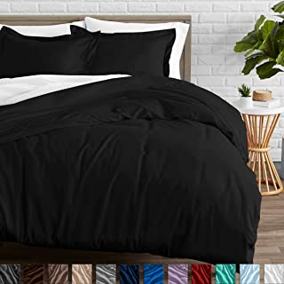 Bare Home Duvet Cover and Sham Set - Twin/Twin Extra Long - Premium 1800 Ultra-Soft Brushed Microfiber - Hypoallergenic, Easy Care, Wrinkle Resistant (Twin/Twin XL, Black)