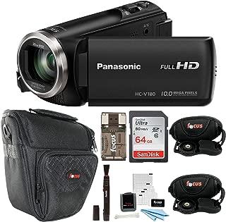 Panasonic HC-V180K Full HD 1080p Camcorder + Sony 64GB Memory Card + Medium Case + Focus HDMI to Micro HDMI cable (6 FT) + Table Tripod + Wrist Grip Strap + 5 Piece Digital Camera Accessory Kit