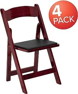 Flash Furniture 4 Pk. HERCULES Series Mahogany Wood Folding Chair with Vinyl Padded Seat -