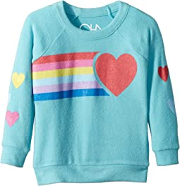 Chaser Kids - Love Knit Raglan Rainbow Heart Pullover (Toddler/Little Kids)
