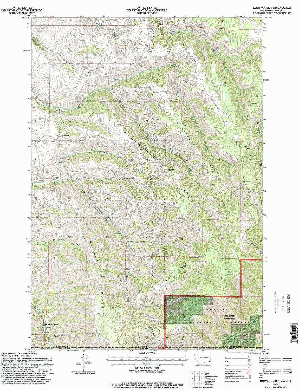 Kooskooskie WA topo map, 1 24000 Scale, 7.5 X 7.5 Minute, Historical, 1995, Updated 1998, 26.9 x 22.1 in