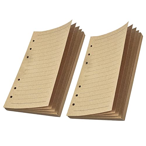 WILLBOND Refill Lined Paper Inserts 320 Pages for 6-Holes A6 Refillable Journals Notebooks Diaries, 80 Sheets (160 Pages)/ Pack, 2 Pack