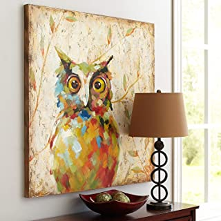 UAC WALL ARTS 100% Hand Painted Animal Oil Painting Colorful Owl Canvas Art with Stretched Frame on Canvas Wall Art for Home Decor Ready to Hang 32x32Inch,Quirky Owl Art