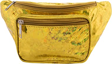 Holographic Fanny Pack for Women - Shiny Holographic Festival Phanny Bum Packs - Gold Confetti