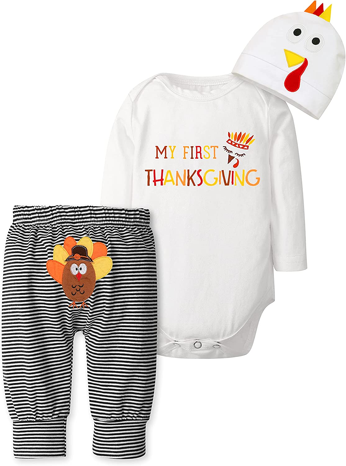Baby Boy Thanksgiving Outfit My First Thanksgiving Clothes Turkey Bodysuit Romper + Pants 3Pcs Sets 3-6 Months