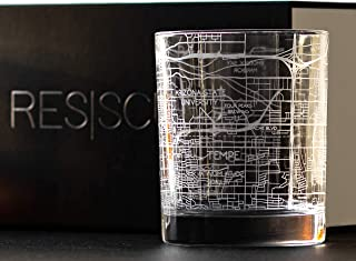 RESSCU Tempe Map, Rocks Glasses Set of 2, Unique Gifts, College Town Etched Glasses