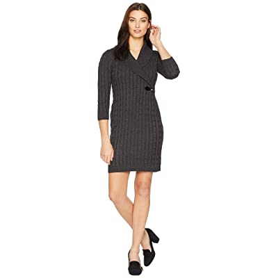 Calvin Klein Cable Knit Sweater Dress with Side Buckle CD8W1CBZ (Charcoal) Women