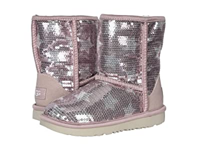 UGG Kids Classic Short II Sequin Star (Little Kid/Big Kid) (Pink Crystal) Girl
