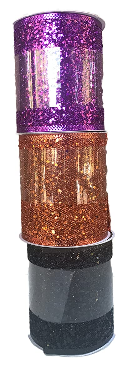 Purple Orange and Black Glitter Bundle of Three Halloween Themed Wide Wired Ribbons