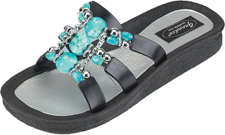 Grandco Women Sandal Denim Turq Slide - Black
