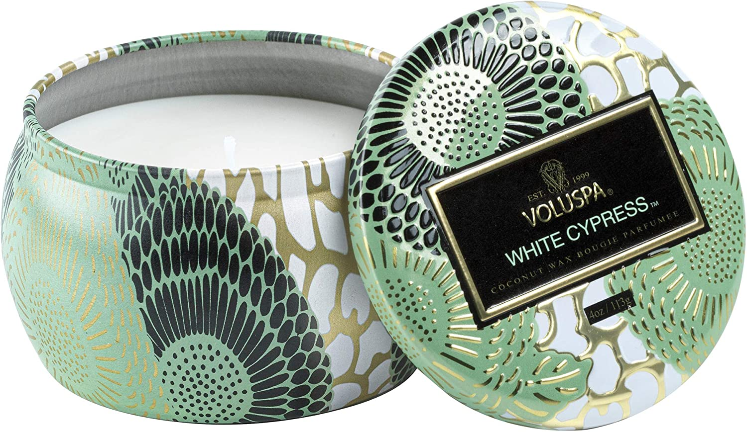 Voluspa White Cypress Store Candle Mini Tin Scent Japan Maker New Holiday 4 Oz.