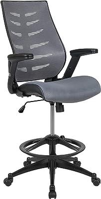 Flash Furniture Silla de Dibujo ergonómica de Malla Gris Oscuro con Respaldo de Columna Vertebral y Anillo Ajustable para los pies y Brazos abatibles Ajustables