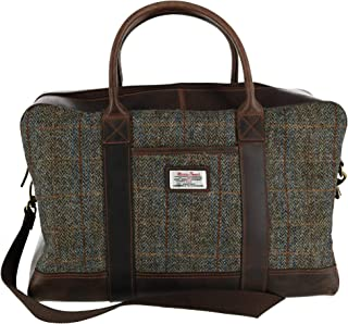 Mens Carloway Harris Tweed and Leather Holdall Briefcase