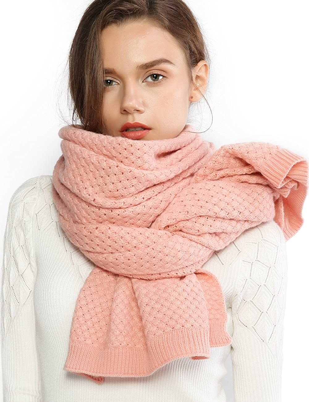 RIIQIICHY Chunky Knit Scarfs for Women Thick Cable Shawls Wrap Winter Soft Warm Long Large Solid Color Pashminas Stole