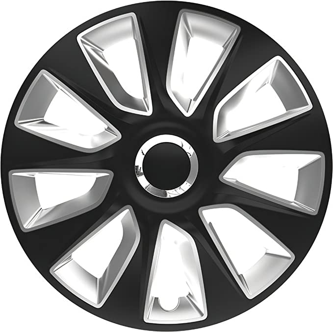 Zentimex Z778235 Radkappen Radzierblenden Universal 15 Zoll Black Silver Auto