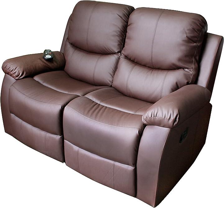 Divano massaggiante a 2 posti vibraluxe color marrone cioccolato eco-de eco-8200 ECO-8200/2 M