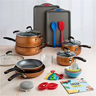 Fancy and Elegant Tasty 30 Piece Heavyweight Non-Stick Cookware Set - Includes Google Home Mini - Copper,Everything You Need for Your Kitchen in One Box